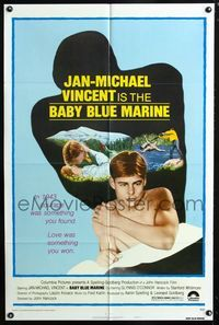 2c085 BABY BLUE MARINE style B 1sheet '76 naked sexy Jan-Michael Vincent & kissing Glynis O'Connor!