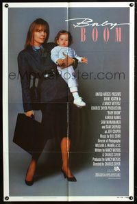 2c086 BABY BOOM one-sheet '87 business woman Diane Keaton wants nothing to do with adorable baby!