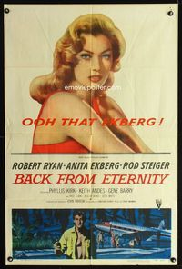 2c088 BACK FROM ETERNITY one-sheet '56 super close up of that sexy Anita Ekberg & Robert Ryan!