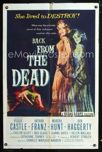 2c089 BACK FROM THE DEAD one-sheet movie poster '57 Peggie Castle lived to destroy, cool horror art!