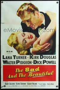 2c092 BAD & THE BEAUTIFUL 1sheet '53 great close up of Lana Turner & Kirk Douglas in dress clothes!