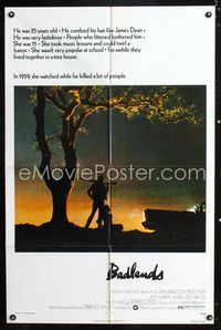 2c096 BADLANDS one-sheet poster '74 Terence Malick's cult classic, Martin Sheen & Sissy Spacek!