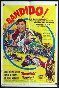 2c097 BANDIDO one-sheet poster '56 artwork of one-man army Robert Mitchum & sexy Ursula Thiess!