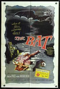 2c101 BAT one-sheet movie poster R80s great horror art of Vincent Price & sexy fallen girl!