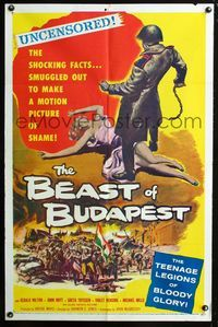 2c106 BEAST OF BUDAPEST one-sheet '58 wild artwork of Russian soldier standing over sexy woman!
