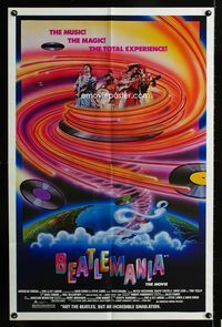 2c107 BEATLEMANIA 1sheet '81 great psychedelic artwork of The Beatles impersonators by Kim Passey!