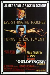 2c004 GOLDFINGER one-sheet movie poster '64 three great images of Sean Connery as James Bond 007!