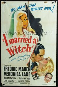 2c438 I MARRIED A WITCH one-sheet poster '42 wonderful art of sexiest Veronica Lake & Fredric March!