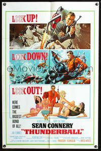 2c005 THUNDERBALL one-sheet poster '65 art of Sean Connery as James Bond 007 by Robert McGinnis!