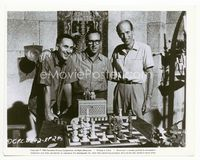 2d002 3 WORLDS OF GULLIVER candid 8x10.25 '60 Ray Harryhausen with producers & cool miniature set!