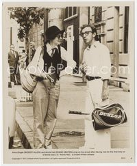2d032 ANNIE HALL 8x10 still '77 Woody Allen & Diane Keaton in classic clothing with tennis rackets!