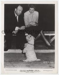 2d026 SPELLBOUND candid 8x10 '45 wonderful image of Alfred Hitchcock & Ingrid Bergman playing w/dog!