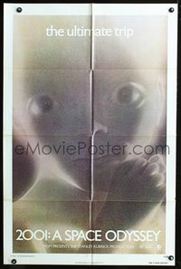 2e019 2001: A SPACE ODYSSEY one-sheet poster R74 Stanley Kubrick, best close up star child image!