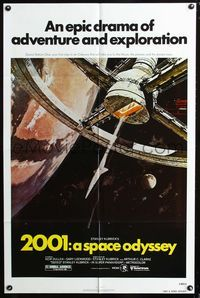 2e020 2001: A SPACE ODYSSEY 1sh R80 Stanley Kubrick, classic artwork of space wheel by Bob McCall!