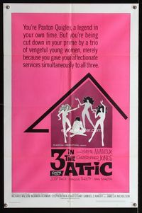 2e021 3 IN THE ATTIC one-sheet movie poster '68 Yvette Mimieux, great sexy silhouette artwork!