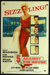 2e023 5 AGAINST THE HOUSE one-sheet '55 great art of supuer sexy Kim Novak gambling in Reno Nevada!