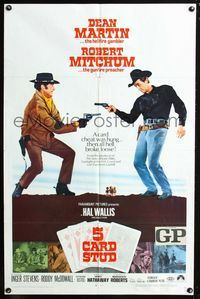 2e024 5 CARD STUD one-sheet movie poster '68 cowboys Dean Martin & Robert Mitchum play poker!