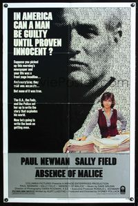 2e028 ABSENCE OF MALICE one-sheet poster '81 Paul Newman, Sally Field, Sydney Pollack, cool design!