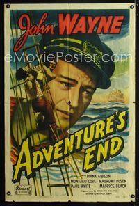2e029 ADVENTURE'S END one-sheet R49 great huge image of sailor John Wayne & also fighting on ropes!