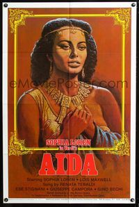 2e030 AIDA one-sheet movie poster R82 artwork of sexy Sophia Loren in Verdi's Italian opera!