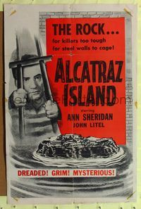 2e031 ALCATRAZ ISLAND 1sh R56 art of John Litel in The Rock, prison for killers too tough to cage!