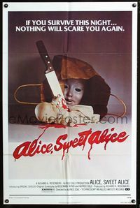 2e032 ALICE SWEET ALICE one-sheet poster '77 first Brooke Shields, disturbing knife-in-doll image!