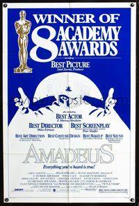 2e034 AMADEUS one-sheet poster '84 Milos Foreman, Mozart biography, winner of 8 Academy Awards!
