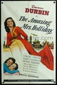 2e035 AMAZING MRS. HOLLIDAY style C one-sheet poster '43 art of full-length pretty Deanna Durbin!