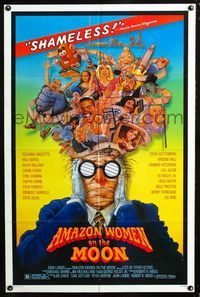2e036 AMAZON WOMEN ON THE MOON one-sheet '87 Joe Dante, cool wacky artwork of cast by William Stout!