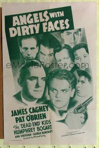 2e037 ANGELS WITH DIRTY FACES one-sheet R56 James Cagney, Pat O'Brien & Dead End Kids classic!