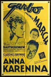 2e039 ANNA KARENINA one-sheet poster R42 beautiful Greta Garbo, Fredric March, Freddie Bartholomew