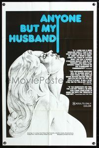 2e040 ANYONE BUT MY HUSBAND one-sheet '75 art of sexy C.J. Laing, directed by Roberta Findlay!