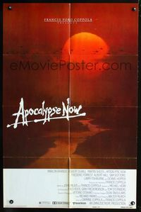 2e041 APOCALYPSE NOW advance 1sheet '79 Francis Ford Coppola, cool different Bob Peak art of sunset!