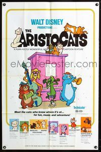 2e042 ARISTOCATS one-sheet movie poster '71 Walt Disney feline jazz musical cartoon, great image!