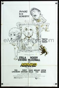 2e043 ARNOLD style B one-sheet movie poster '73 wacky art of Stella Stevens & Roddy McDowall!