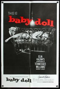 2e044 BABY DOLL one-sheet poster R70 Elia Kazan, classic image of sexy troubled teen Carroll Baker!