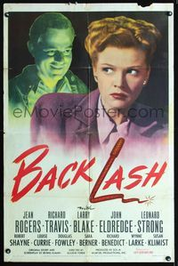 2e045 BACKLASH one-sheet movie poster '47 creepy Richard Travis stares and smiles at Jean Rogers!