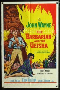 2e046 BARBARIAN & THE GEISHA one-sheet '58 John Huston, art of John Wayne with torch & Eiko Ando!