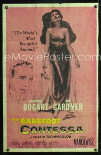 2e047 BAREFOOT CONTESSA 1sheet '54 great artwork of Humphrey Bogart & sexy full-length Ava Gardner!