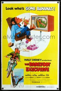 2e048 BAREFOOT EXECUTIVE one-sheet '71 Disney, art of Kurt Russell & wacky chimp gone bananas!