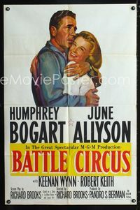 2e050 BATTLE CIRCUS one-sheet poster '53 great artwork of Humphrey Bogart hugging June Allyson!