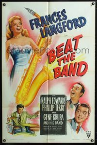 2e051 BEAT THE BAND one-sheet '47 artwork of sexy Frances Langford & Gene Krupa playing drums!