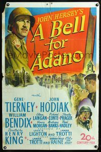 2e053 BELL FOR ADANO one-sheet '45 art of pretty Gene Tierney & World War II soldier John Hodiak!