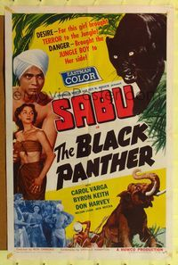 2e060 BLACK PANTHER one-sheet '56 danger brought Sabu to sexy Carol Varga's side in the jungle!