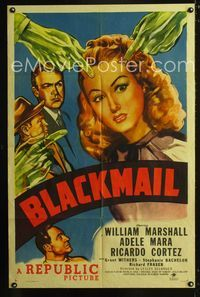 2e061 BLACKMAIL one-sheet movie poster '47 cool film noir art of green hands pointing at Adele Mara!