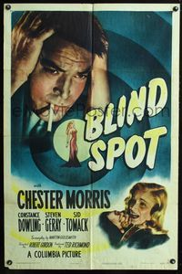 2e062 BLIND SPOT one-sheet '47 great close image of worried Chester Morris & sexy girl, film noir!