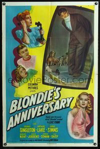 2e063 BLONDIE'S ANNIVERSARY one-sheet poster '47 great wacky image of Penny Singleton & Arthur Lake!