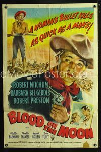 2e064 BLOOD ON THE MOON 1sh '49 artwork of cowboy Robert Mitchum pointing gun & Barbara Bel Geddes!