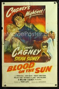 2e065 BLOOD ON THE SUN 1sheet '45 great artwork of James Cagney fighting, plus sexy Sylvia Sidney!
