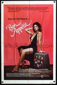 2e067 BON APPETIT one-sheet '80 sexy Kelly Nichols in very revealing dress sitting on suitcase!